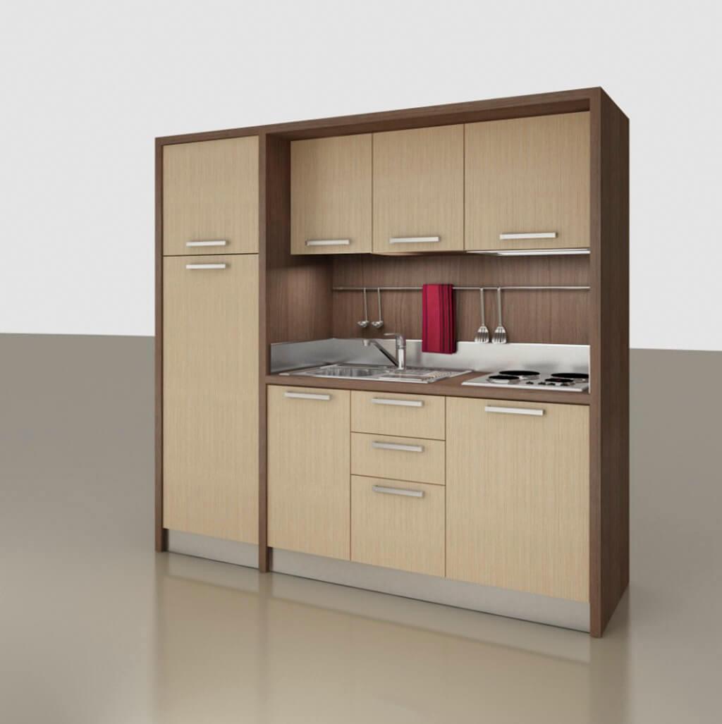 bucatarie compacta cu frigider mare