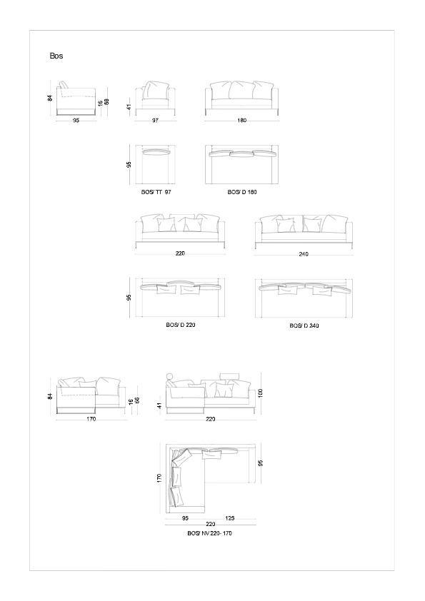 dimensiuni canapea BOS